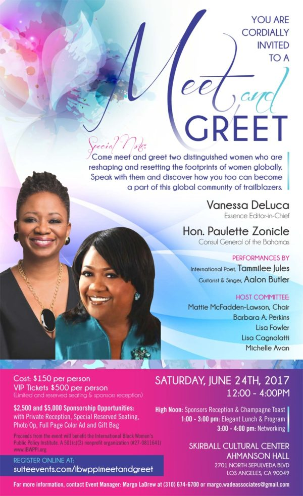MEET & GREET EVENT – International Black Women's Public Policy Institute, June 24, 2017